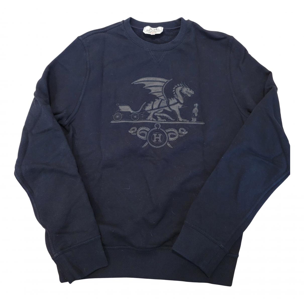 Hermes \N Pullover.Westen.Sweatshirts  in  Schwarz Baumwolle