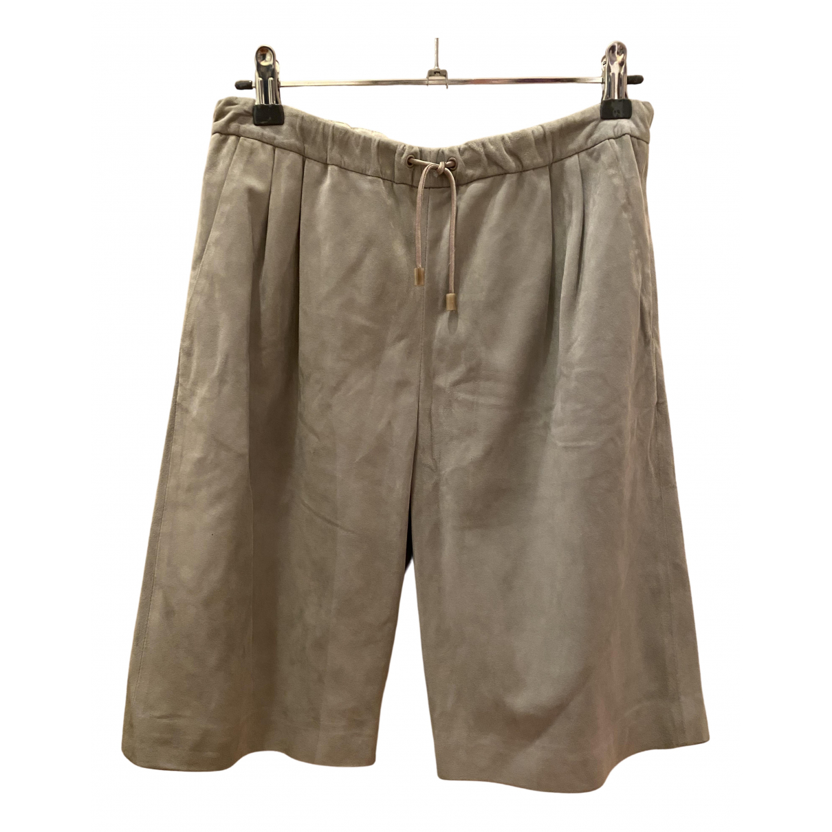 Fabiana Filippi \N Grey Leather Shorts for Women 40 IT