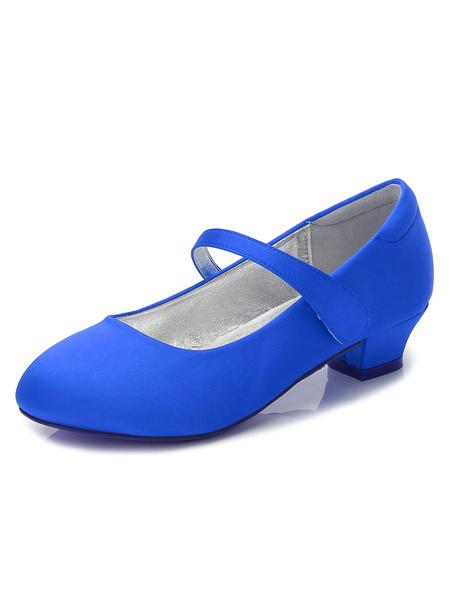Milanoo Zapatos de Florista de puntera redonda de tacon gordo 3cm con velcro para chica
