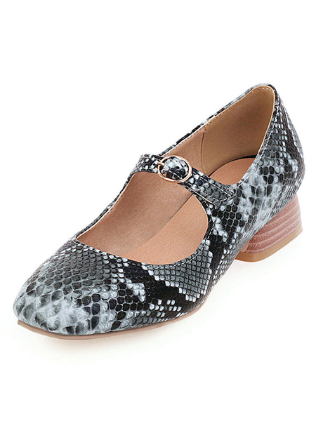 Milanoo Women\'s Mid-Low Heels Mary Jane Square Toe Block Heel Snake Print Pumps