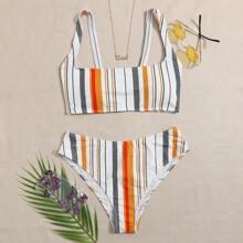 Sets de bikini A rayas Multicolor Dulce