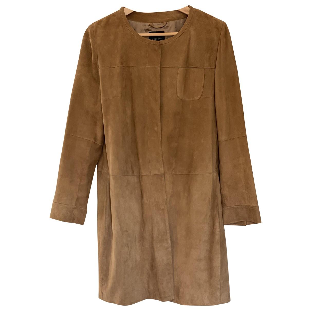 Max Mara Weekend - Manteau   pour femme en suede - camel