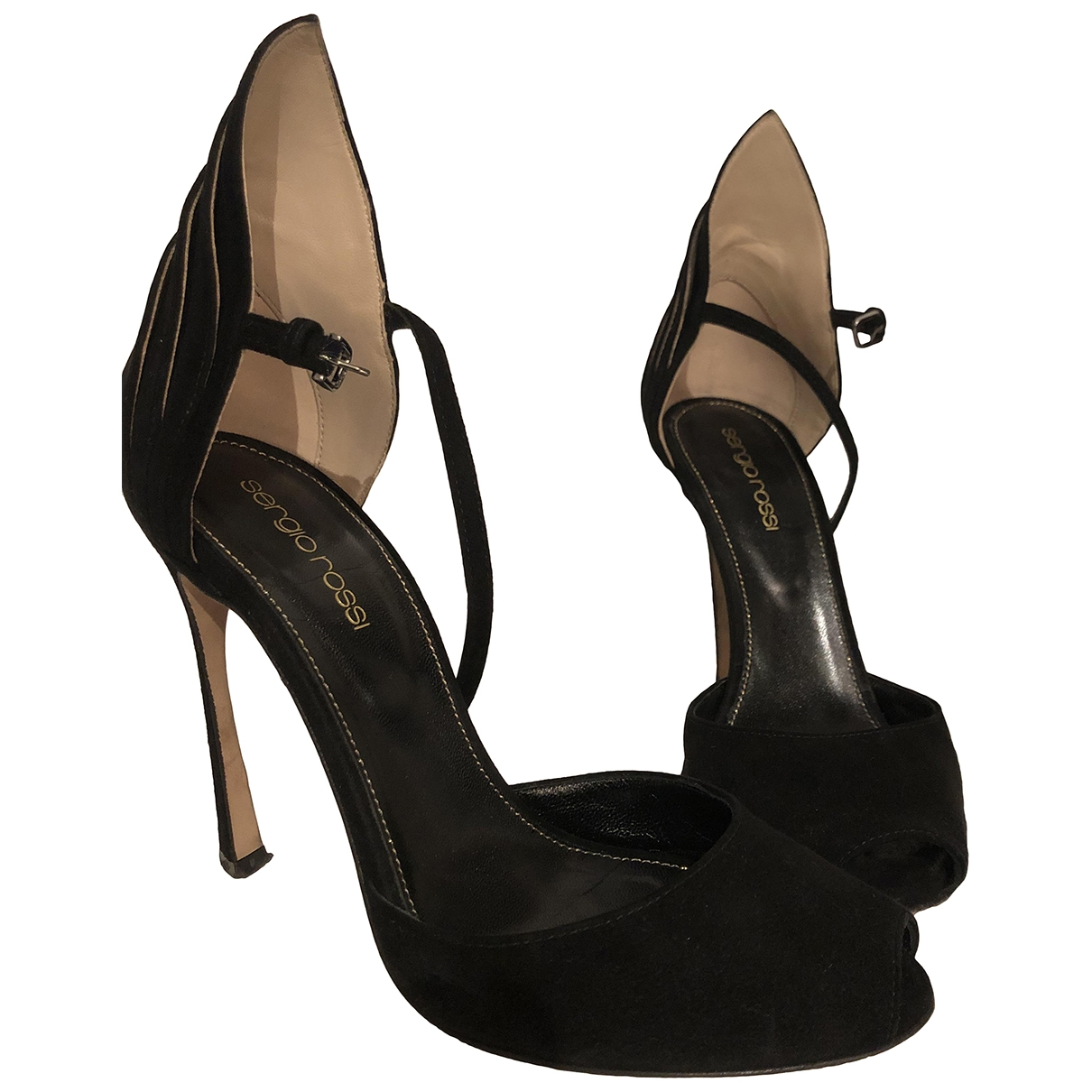 Sergio Rossi \N Black Suede Sandals for Women 36 EU