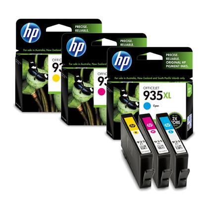 HP 935XL cartouche d'encre originale couleur combo haute capacité C/M/Y