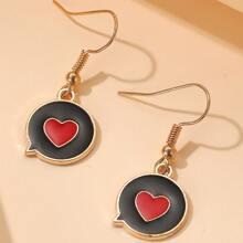Girls Heart Decor Drop Earrings