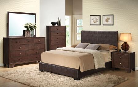 Ireland III Collection 14370QDMCN 5 PC Bedroom Set with Queen Size Bed + Dresser + Mirror + Chest + Nightstand in Brown