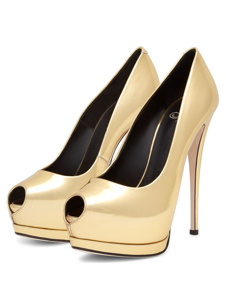 Milanoo Womens Peep Toe Platform Pumps Sexy Stiletto High Heels Dress Shoes for Party