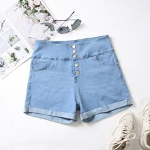 Plus Button Front Rolled Hem Denim Shorts