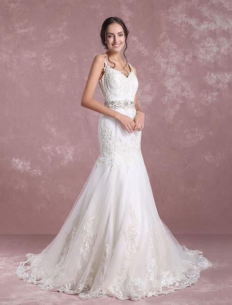 Milanoo Summer Wedding Dresses 2020 Lace Mermaid V Neck Backless Bridal Gown Beading Waist Spaghetti Straps Chapel Train Bridal Dress