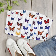 Plus Allover Butterfly Crop Top