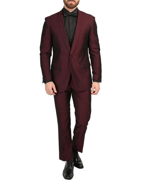 Shawl Collar Slim Fitted Mens Blazer Dinner Jacket Burgundy