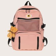Zipper Detail Pocket Front Backpack