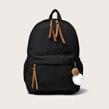 Solid Zip Backpack
