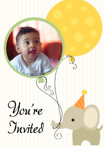 Kids Birthday Party Invites 5x7 Folded Cards, Standard Cardstock 85lb, Card & Stationery -Birthday Elephant