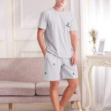 Men Letter Embroidered Tee With Badminton Print Shorts PJ Set