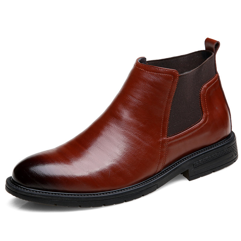 Men Cow Leather Non Slip Elastic Panels Slip On Casual Boots