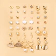20 pares set de pendientes con diamante de imitacion