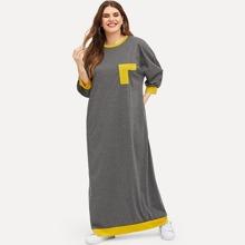 Langes Kleid mit Kontrast Taschen
