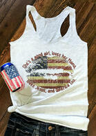She's A Good Girl Loves Her Mama American Flag Lips Tank - White