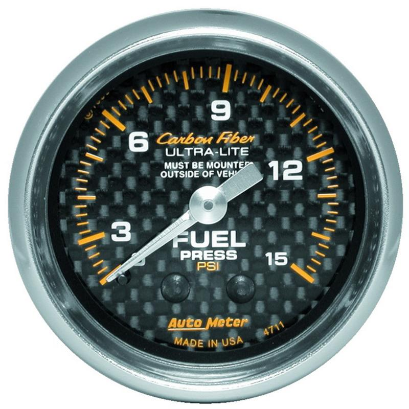 AutoMeter GAUGE; FUEL PRESSURE; 2 1/16in. 0-15PSI; MECHANICAL; CARBON FIBER