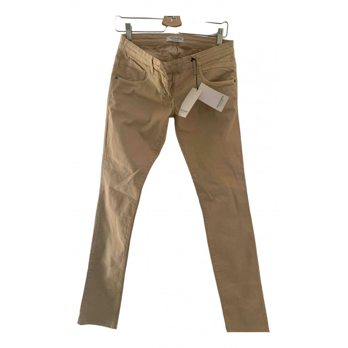 Trussardi N Beige Cotton Trousers for Women 36 IT