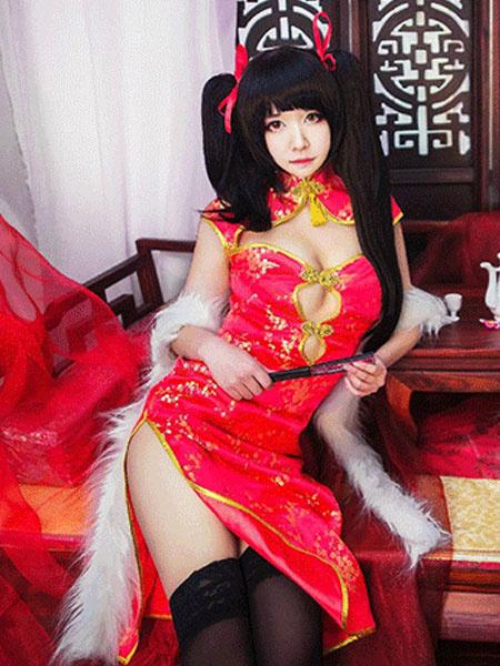 Milanoo Date A Live Tokisaki Kurumi Halloween Cosplay Costume Sexy Red Cheongsam Girl Version