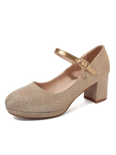 Milanoo Zapatos Mary Jane Zapatos de tacon grueso con punta redonda con purpurina plateada para mujer