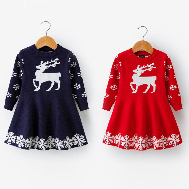 Christmas Dress Deer Print Girls Long Sleeve Knitwear Dresses For 3Y-11Y