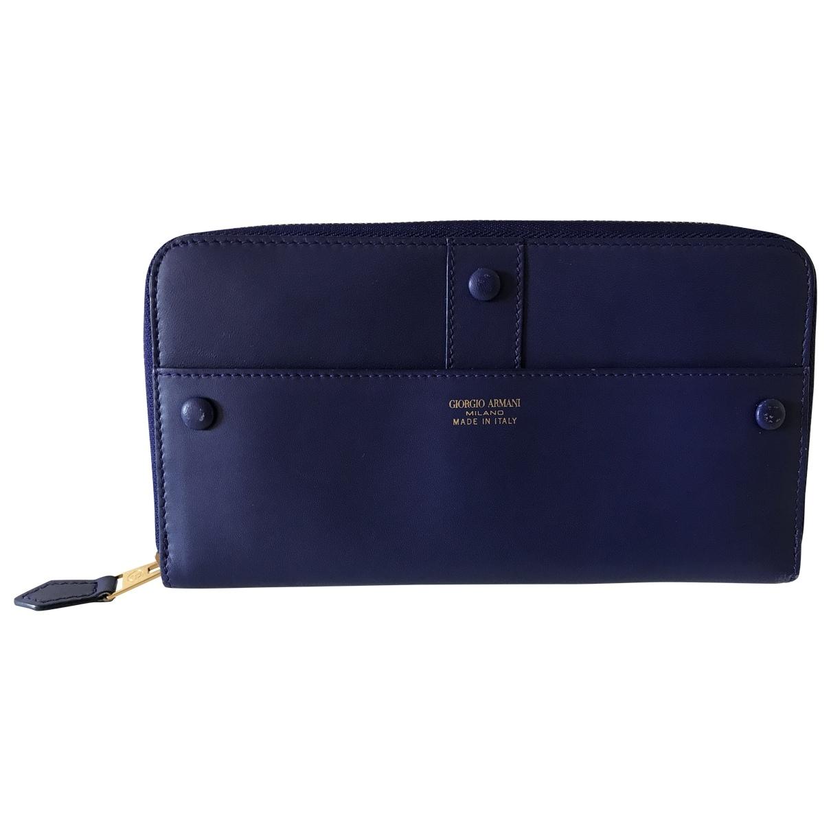 Giorgio Armani \N Portemonnaie in  Blau Leder