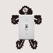 Elektroschock Schaedel Schalter Aufkleber
