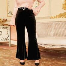 Plus Pearl Buckle Belt Velvet Pants