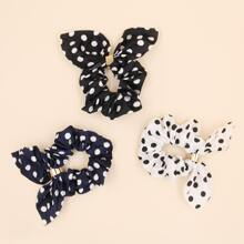 3pcs Polka Dot Scrunchie Scarf