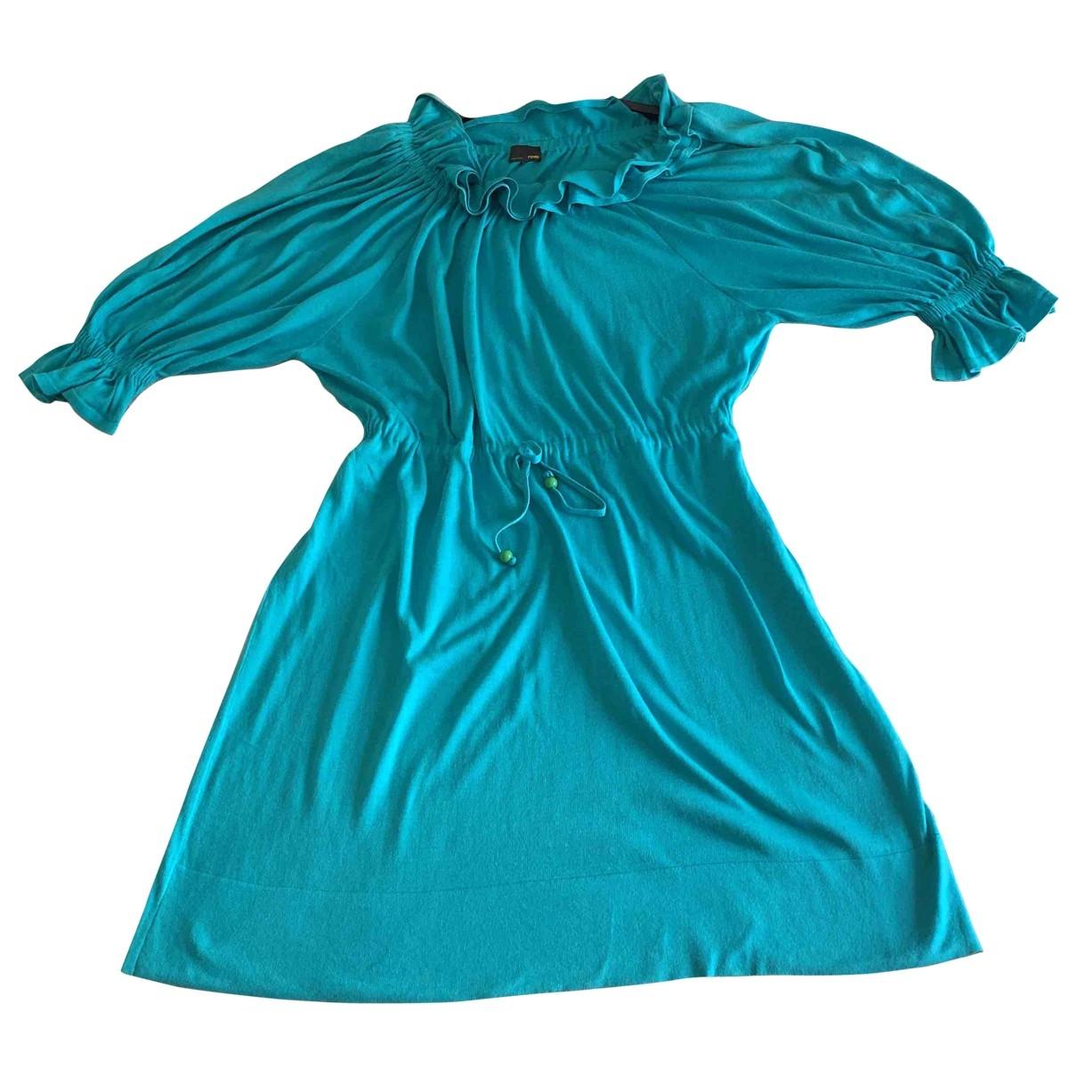 Fendi - Robe   pour femme en coton - turquoise