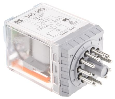 Releco , 115V ac Coil Non-Latching Relay 3PDT, 10A Switching Current Plug In