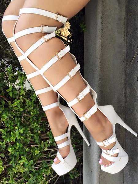 Milanoo White Gladiator Sandals High Heel Stiletto Open Toe Buckled PU Women's Platform Sandal Shoes