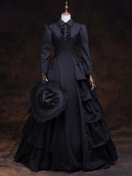 Milanoo Victorian Dress Costume Women's Black Retro Long Sleeves Ball Gown Lapel Marie Antoinette Costume Dress Victorian Era Style Outfits Costumes H