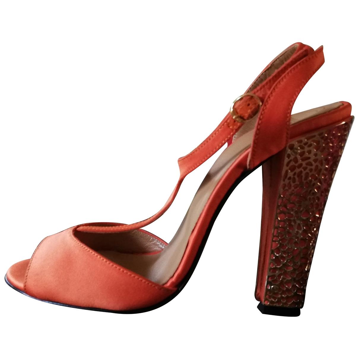 - Escarpins   pour femme en toile - orange