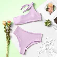 One Shoulder High Waisted Bikini Swimsuit