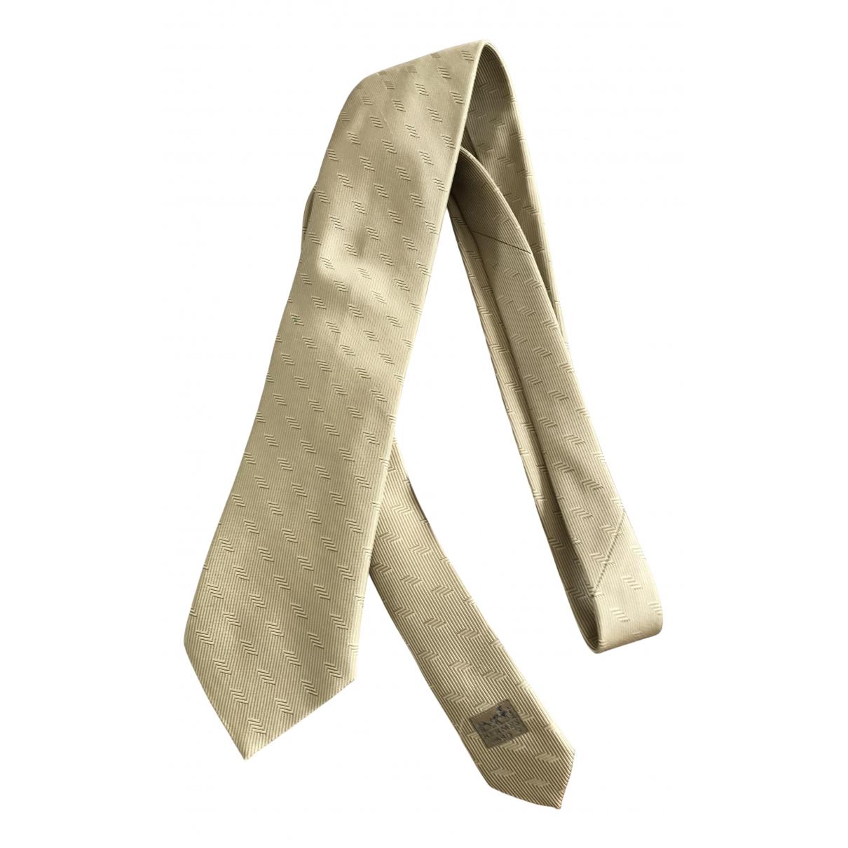 Hermes - Cravates   pour homme en soie - ecru