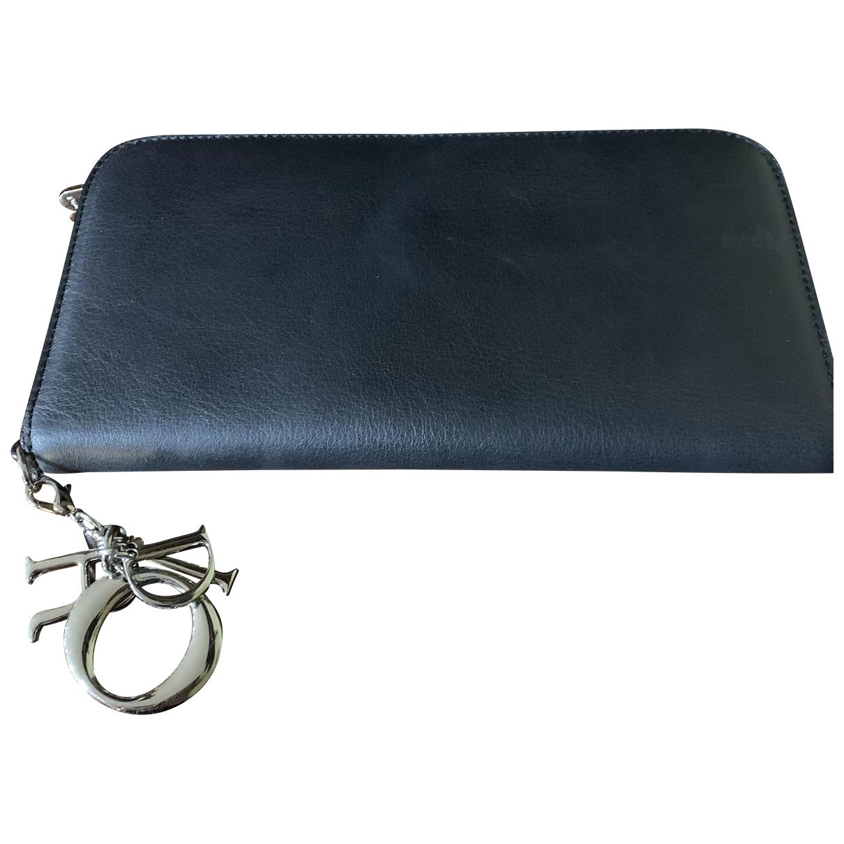Dior Lady Dior Portemonnaie in  Schwarz Leder