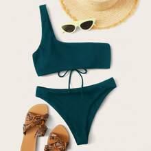Bañador bikini con un hombro con cordon