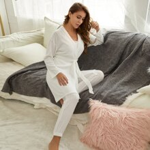 Solid Ribbed Belted Robe & Pants Lounge Set Without Cami Top