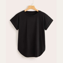 Camiseta solida de puño de doblez