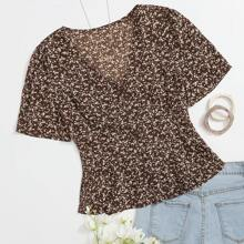 Ditsy Floral Button Front Peplum Blouse
