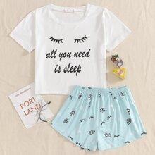 Eyelashes & Slogan Graphic Tee With Shorts PJ Set