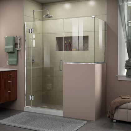 E128243430-01 Unidoor-X 58 W X 30 3/8 D X 72 H Frameless Hinged Shower Enclosure In