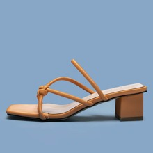Knot Detail Chunky Heeled Mules