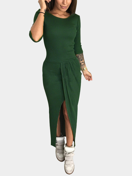 Yoins Blackish Green Pleated Design 3/4 Length Sleeeves Slit Maxi Dress