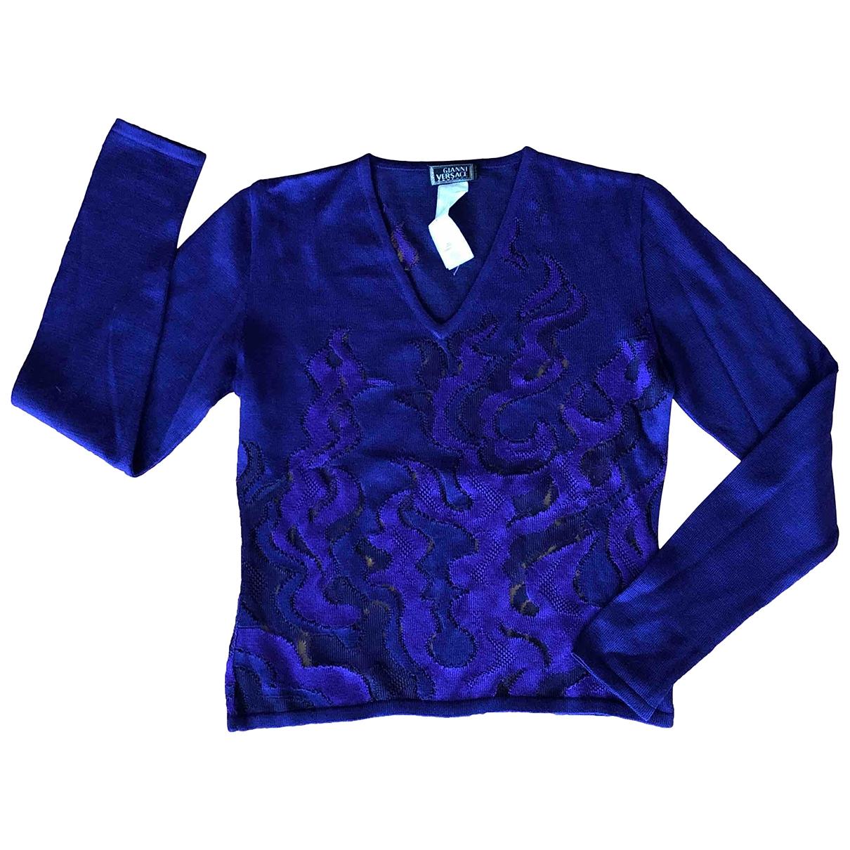 Versace - Pull   pour femme en laine - violet