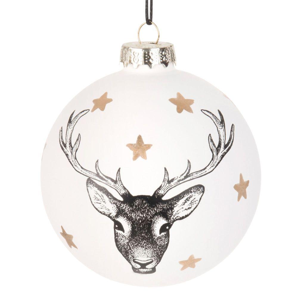 Weihnachtskugel aus Glas, weiss mit Hirsch-Druckmotiv